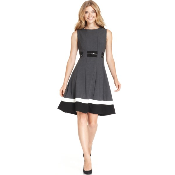 Calvin Klein Colorblocked Belted Fit & Flare Dress In Gray