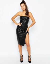 Lyst - Missguided Strapless Leather Look Pencil Dress in Black