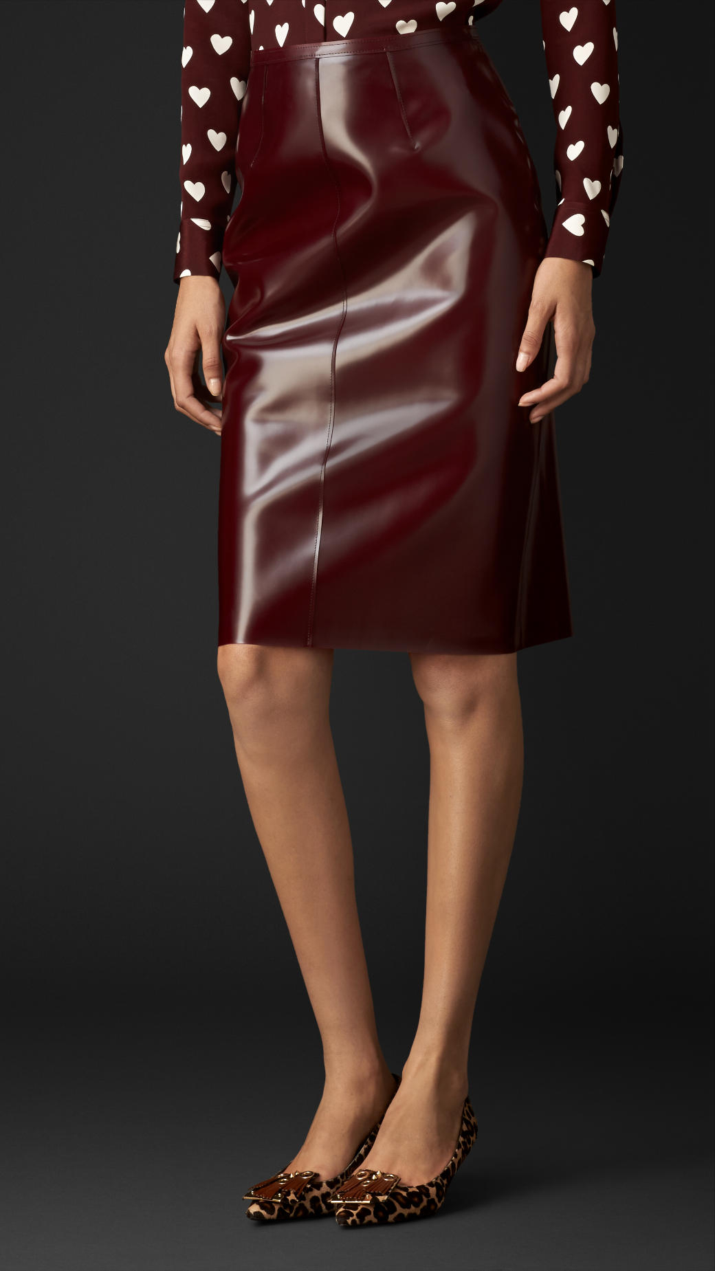 Lyst  Burberry Translucent Rubber Pencil Skirt in Brown