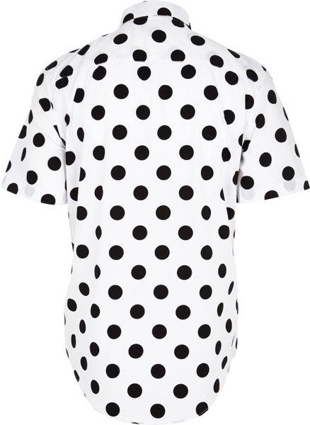 River Island White Polka Dot Short Sleeve Shirt in Black