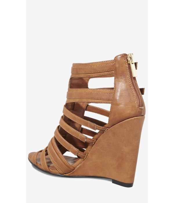 Express Gladiator Vamp Wedge Sandal In Brown - Lyst