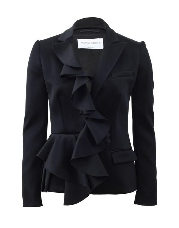 Lyst - Viktor & Rolf Ruffle Front Blazer In Black