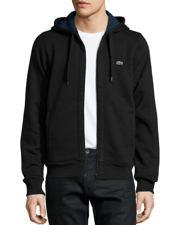 Lyst - Lacoste Full-zip Fleece Hoodie In Black Men