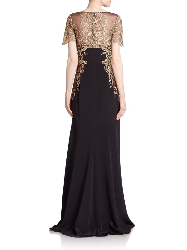 Lyst - Notte Marchesa Embroidered Illusion Silk Crepe
