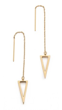 Rebecca minkoff Long Triangle Frame Threader Earrings in