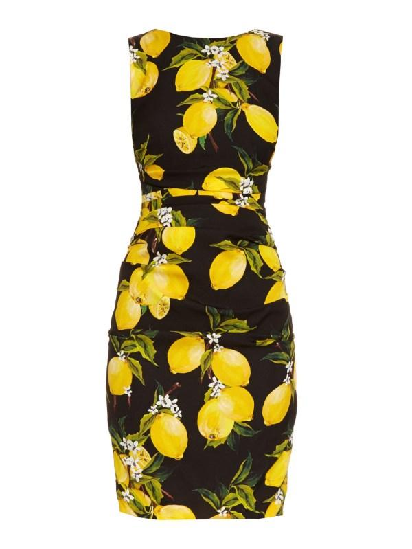 Dolce & Gabbana Lemon-print Ruched Silk Dress In Black Lyst