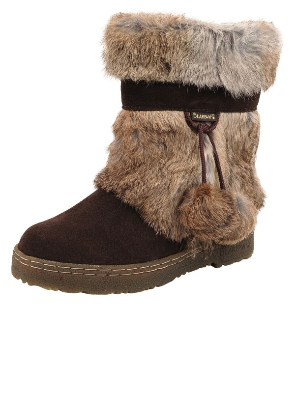 Lyst - Bearpaw Tama Rabbit-fur And Suede Ankle Boots In Brown