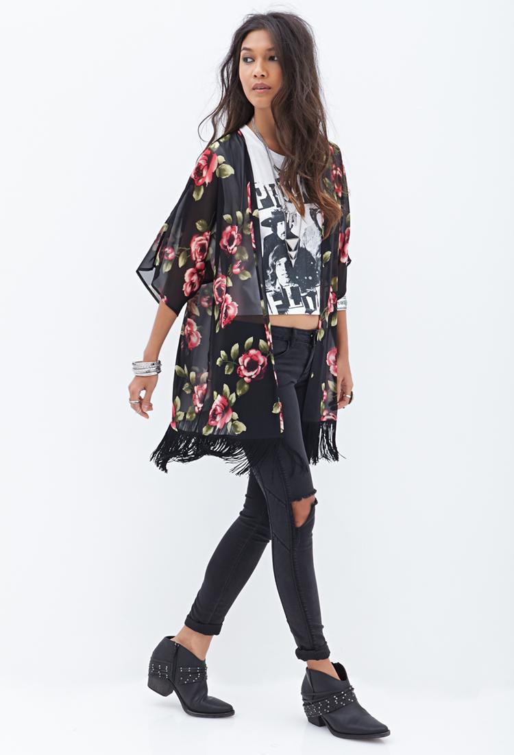 Forever 21 Rose  Fringe Kimono in Pink  Lyst