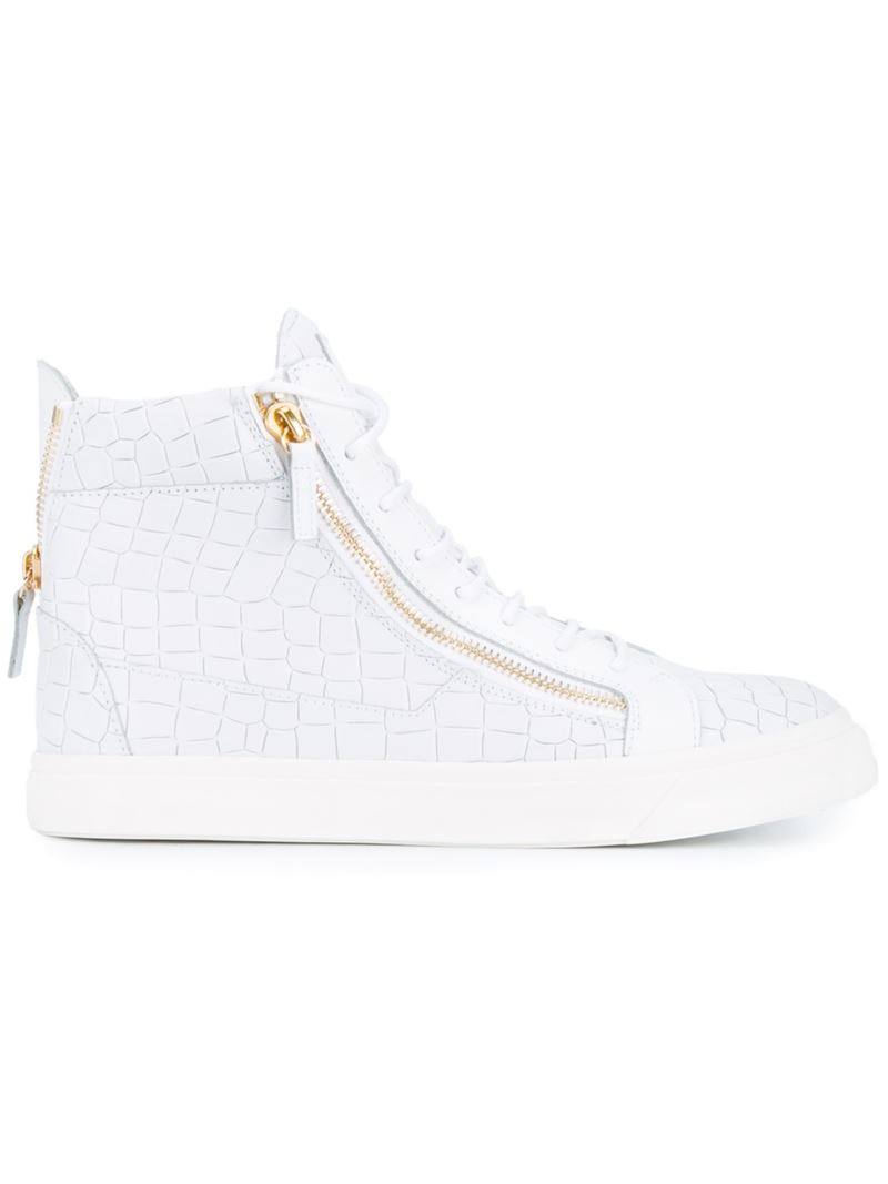 Giuseppe zanotti Crocodile Print Leather Hi-tops in White