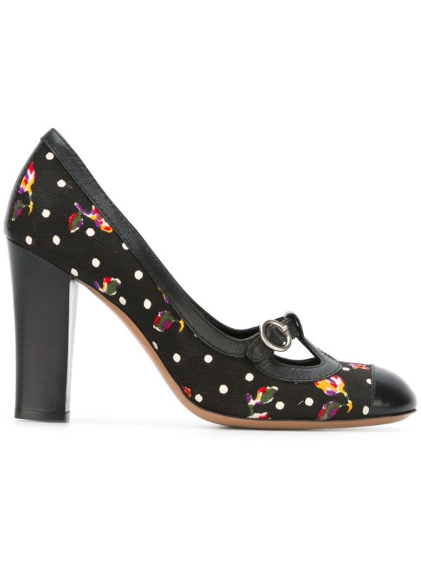 Moschino Floral Polka Dot Pumps In Black Lyst