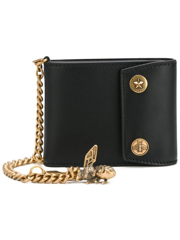 Gucci Chain And Bee Wallet In Black Men - Lyst