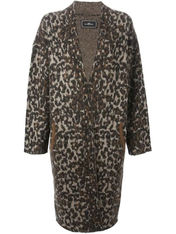 Malene Birger Leopard Print Cardi-coat In Brown - Lyst