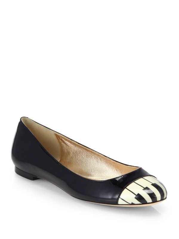 Kate Spade Jazz Piano Patent Leather Ballet Flats in Black