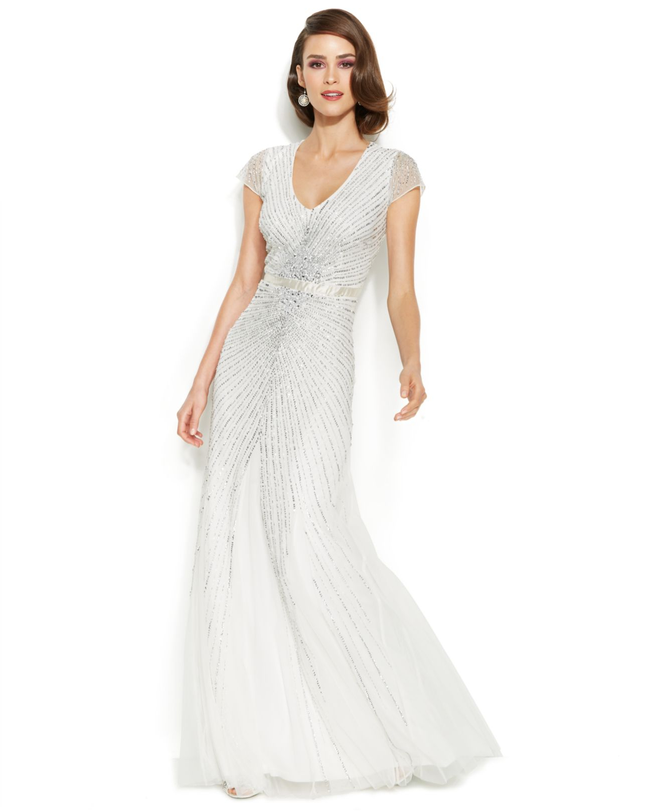Lyst  Adrianna Papell CapSleeve Embellished Sunburst Gown in White