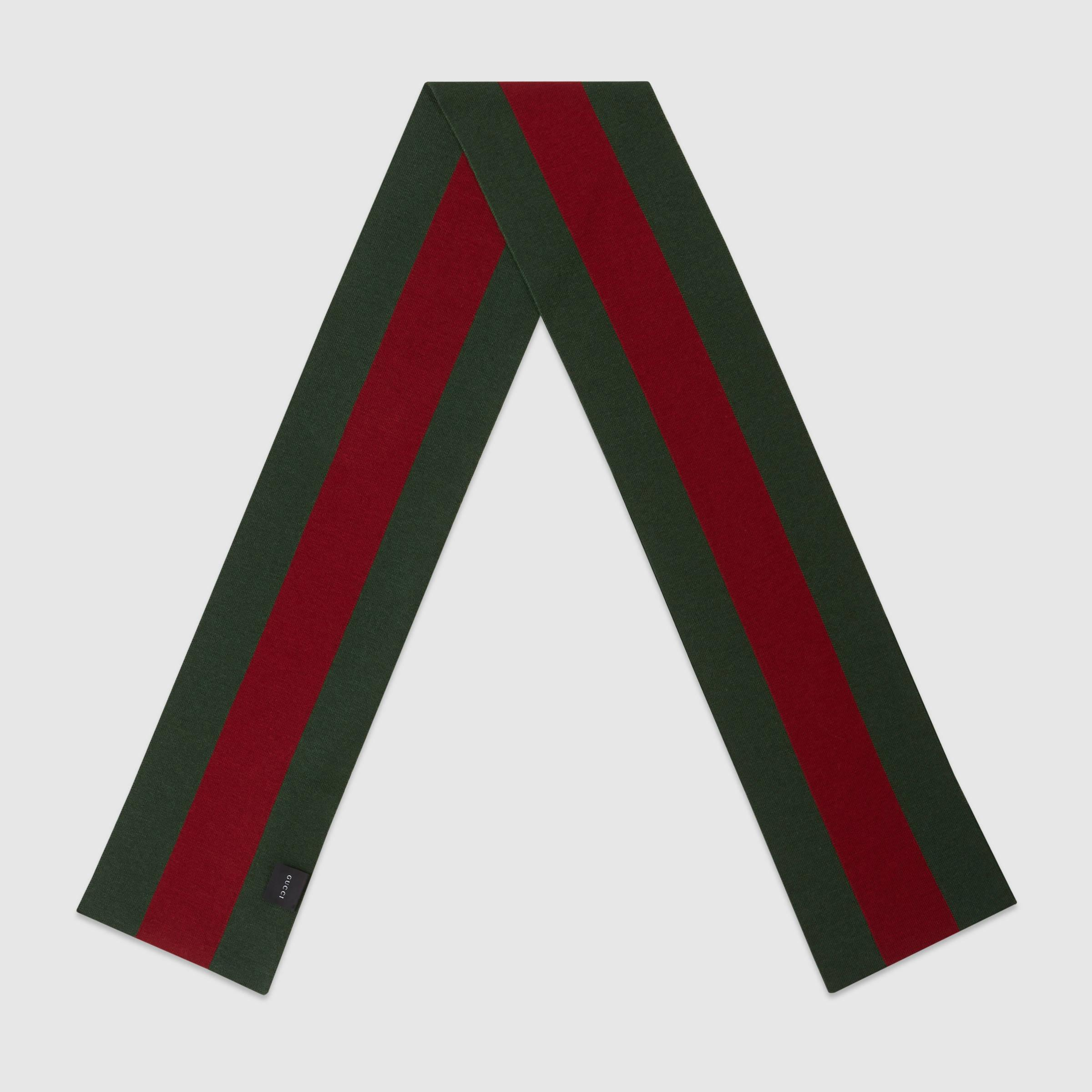 Lyst Gucci Wool Silk Knit Web Scarf In Green For Men