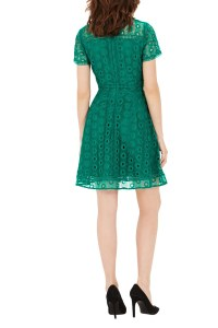 Lyst - Warehouse Mixed Lace Prom Dress in Green