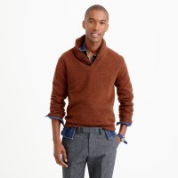 J.crew Lambswool Shawl-collar Sweater in Brown for Men | Lyst