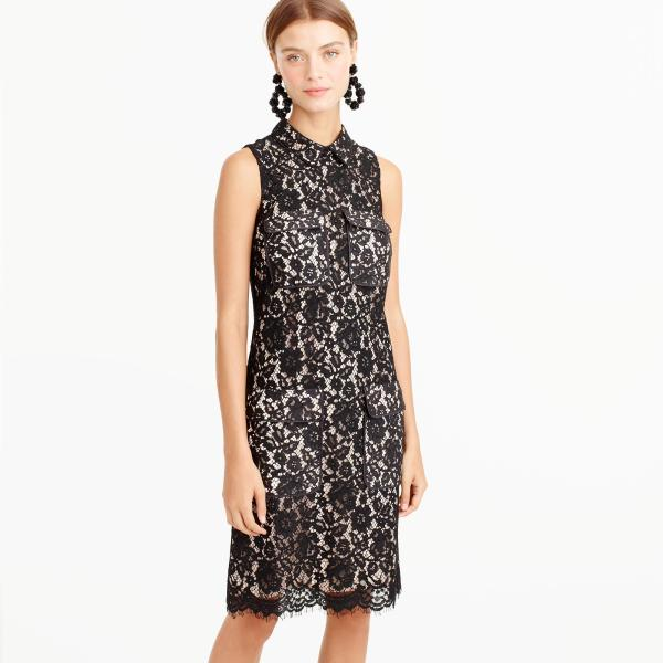 Crew Lace Dress With Pockets In Black Lyst