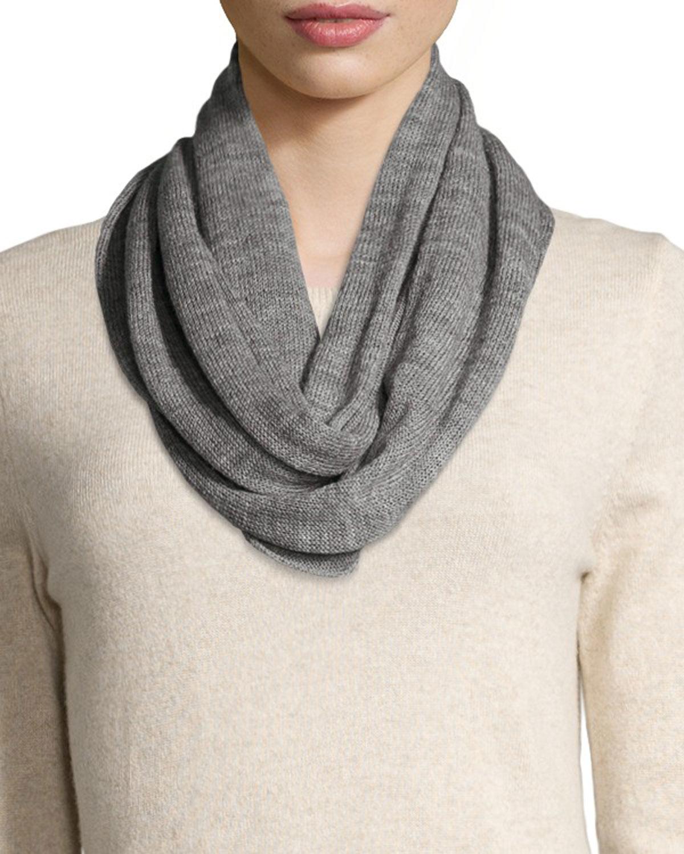 Portolano Merino Wool Infinity Scarf In Gray