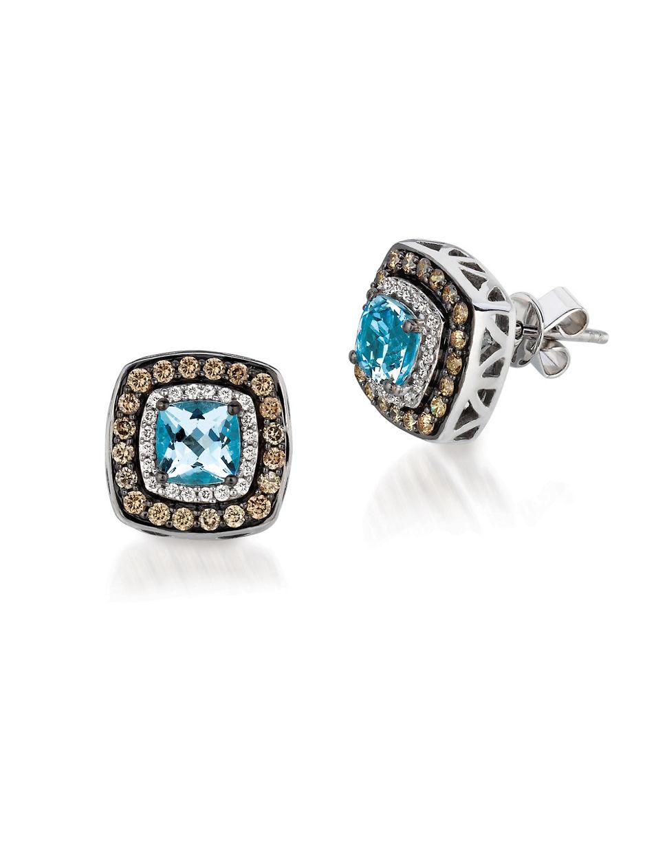 Le vian Diamond And Aquamarine Chocolatier Earrings, 0.51