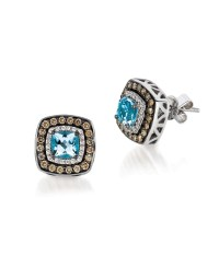 Le vian Diamond And Aquamarine Chocolatier Earrings, 0.51