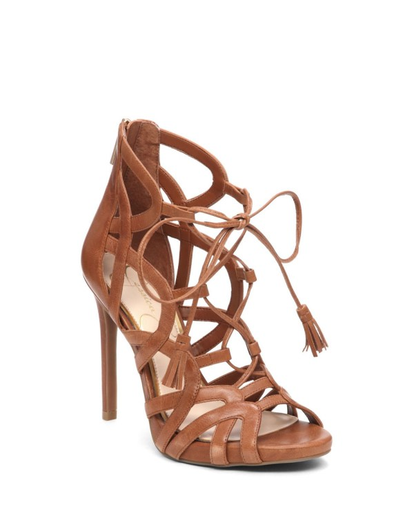 Jessica Simpson Racine Leather Cage Heels In Brown Lyst
