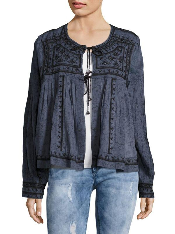 Lyst - Free People Twilight Mirror Embellished Jacket In Blue