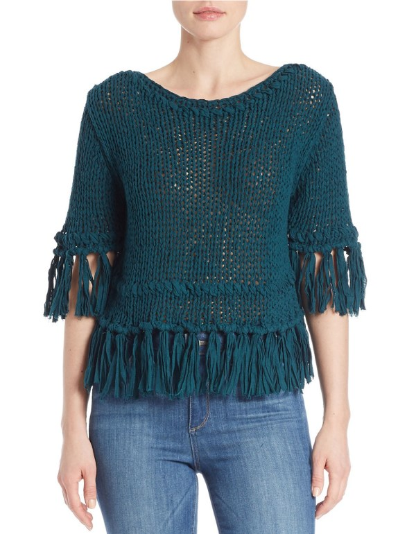 Free People Cotton Fringed Open-knit Sweater In Blue - Lyst