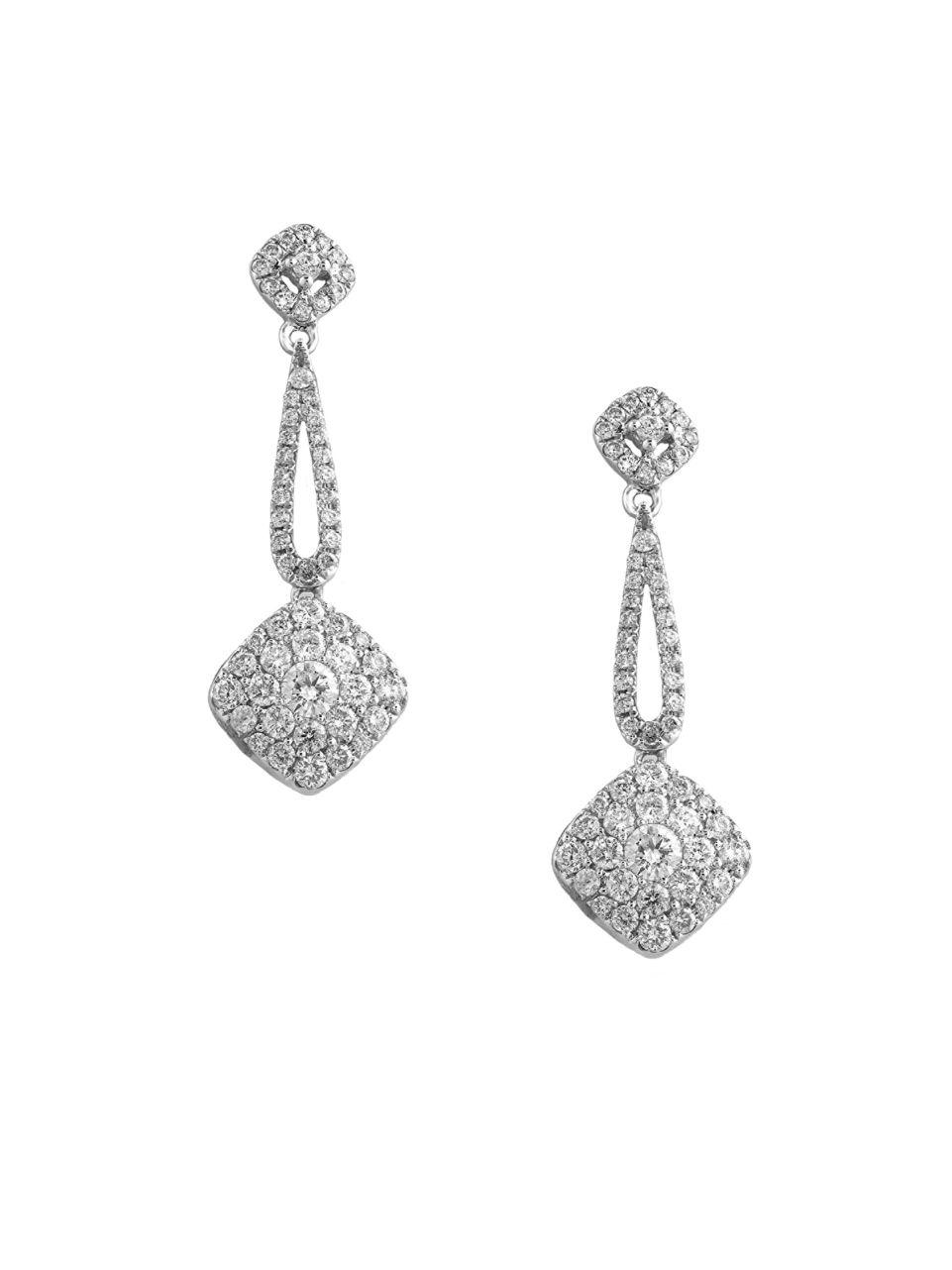 Effy Bouquet Diamond And 14k White Gold Earrings in