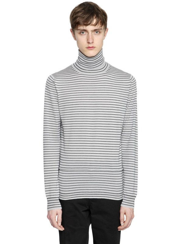 Lanvin Striped Wool Knit Turtleneck Sweater In White