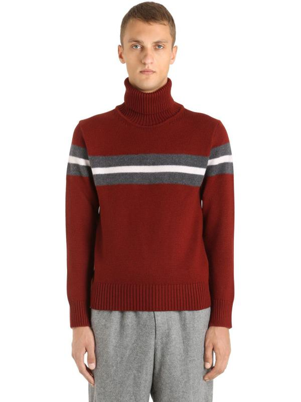 Zegna Striped Intarsia Wool Turtleneck Jumper In Red