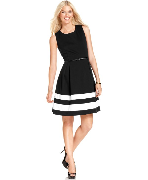 Calvin Klein Petite Colorblocked Belted -line Dress In