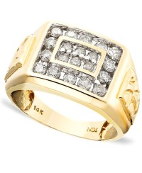 Macy's Men's 14k Gold Ring, Diamond (1 Ct. T.w.) in