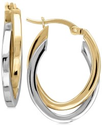 Macy's Two-tone Overlap Hoop Earrings In 14k Gold And ...