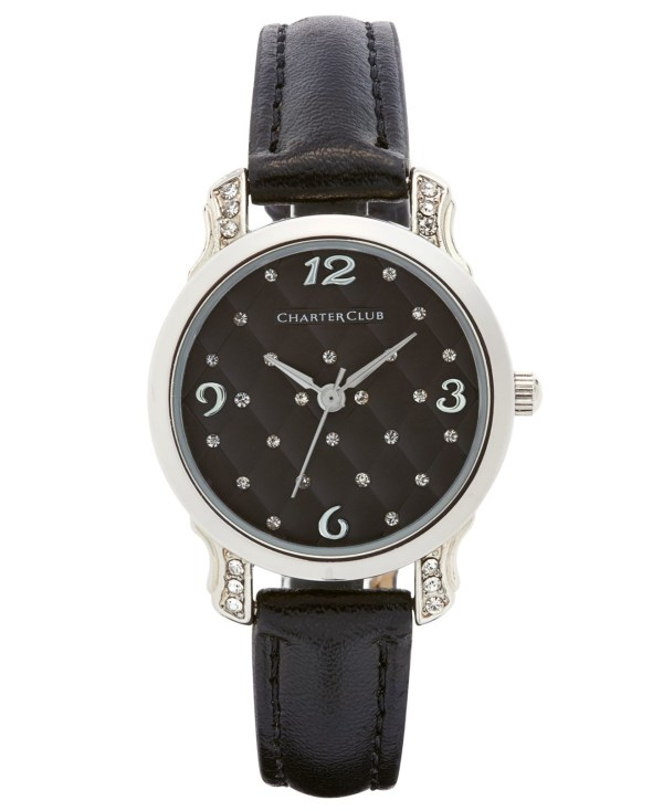 Lyst - Charter Club Women' Black Leather Strap Watch 28mm