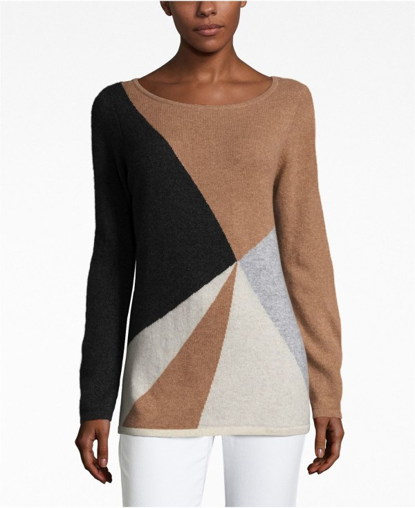 Lyst - Charter Club Petite Cashmere Colorblocked Sweater