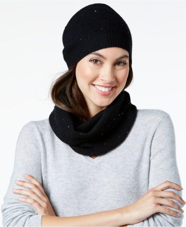 Macy's Women Black Hat Scarf Set