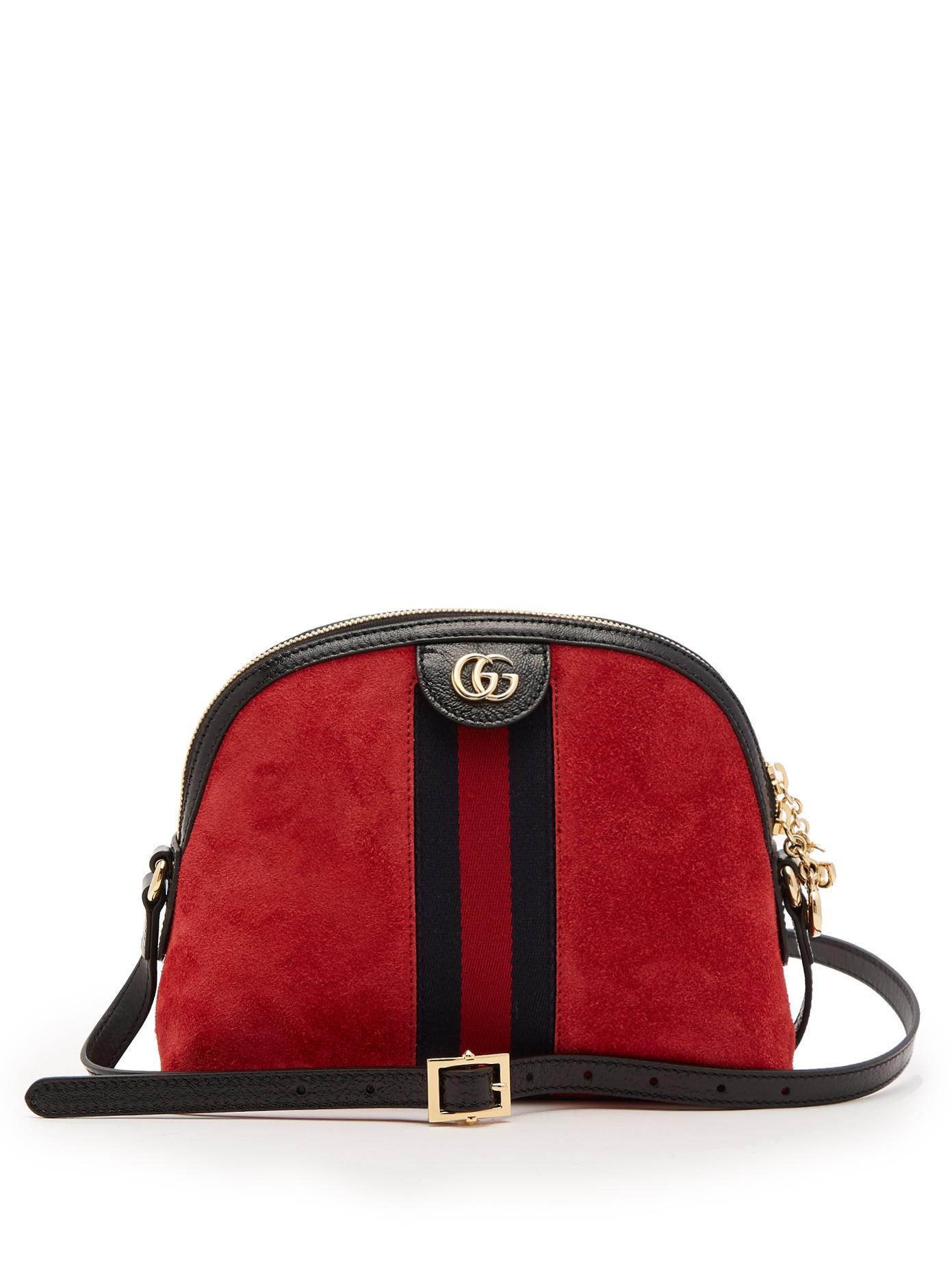 Lyst - Gucci Ophidia Suede Cross-body Bag in Red