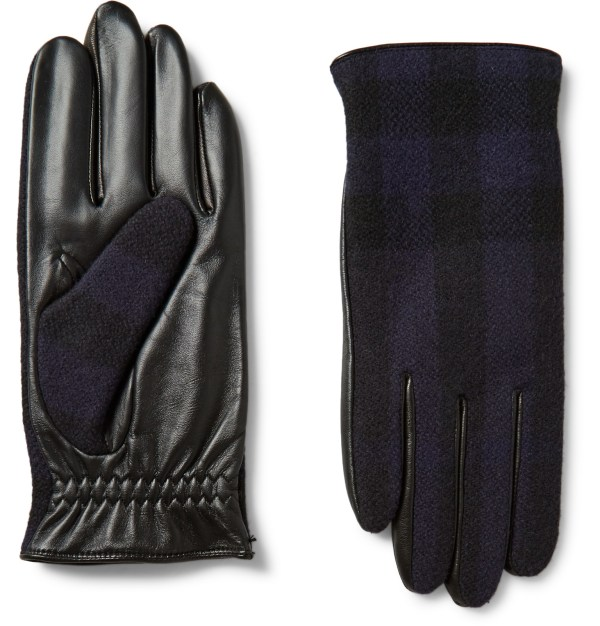Burberry Cashmere-lined Wool And Leather Tech Gloves In