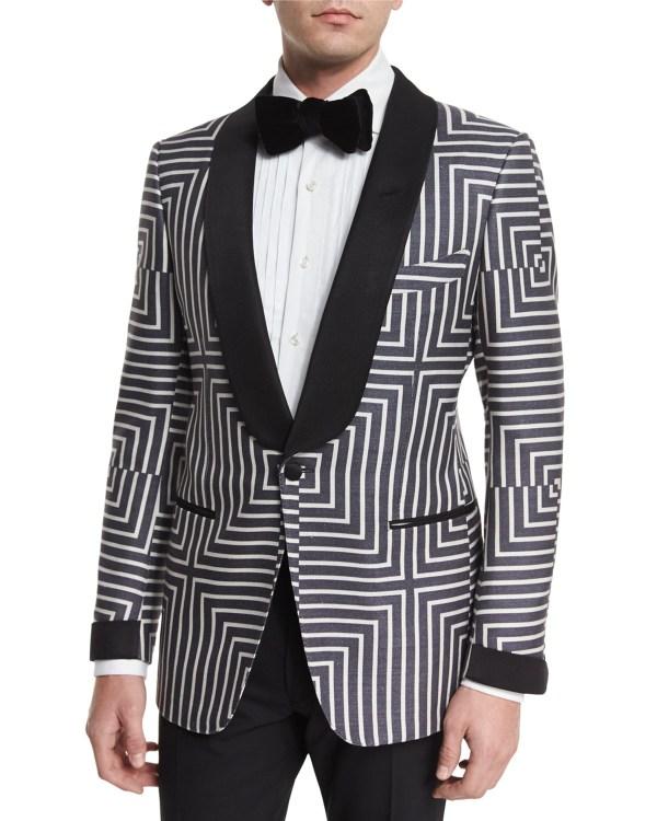 Tom Ford Buckley Base Geometric-print Suit Jacket In White Men Lyst