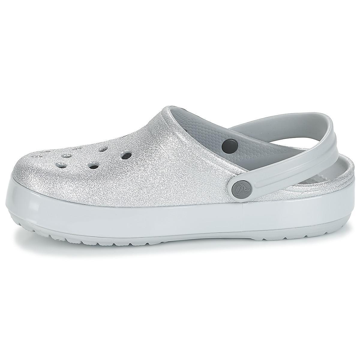 Crocs™ Crocband Glitter Clog Clogs (shoes) in Silver (Metallic) - Lyst