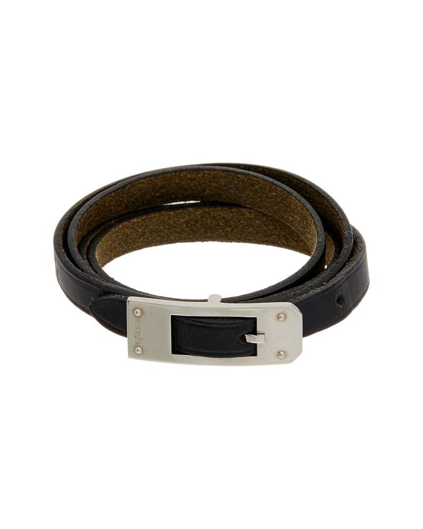 Lyst - Hermès Silver-tone Black Leather Wrap Bracelet in Black for Men