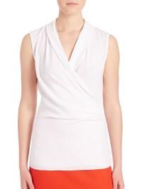 St. john Surplice Shawl Collar Top in White | Lyst