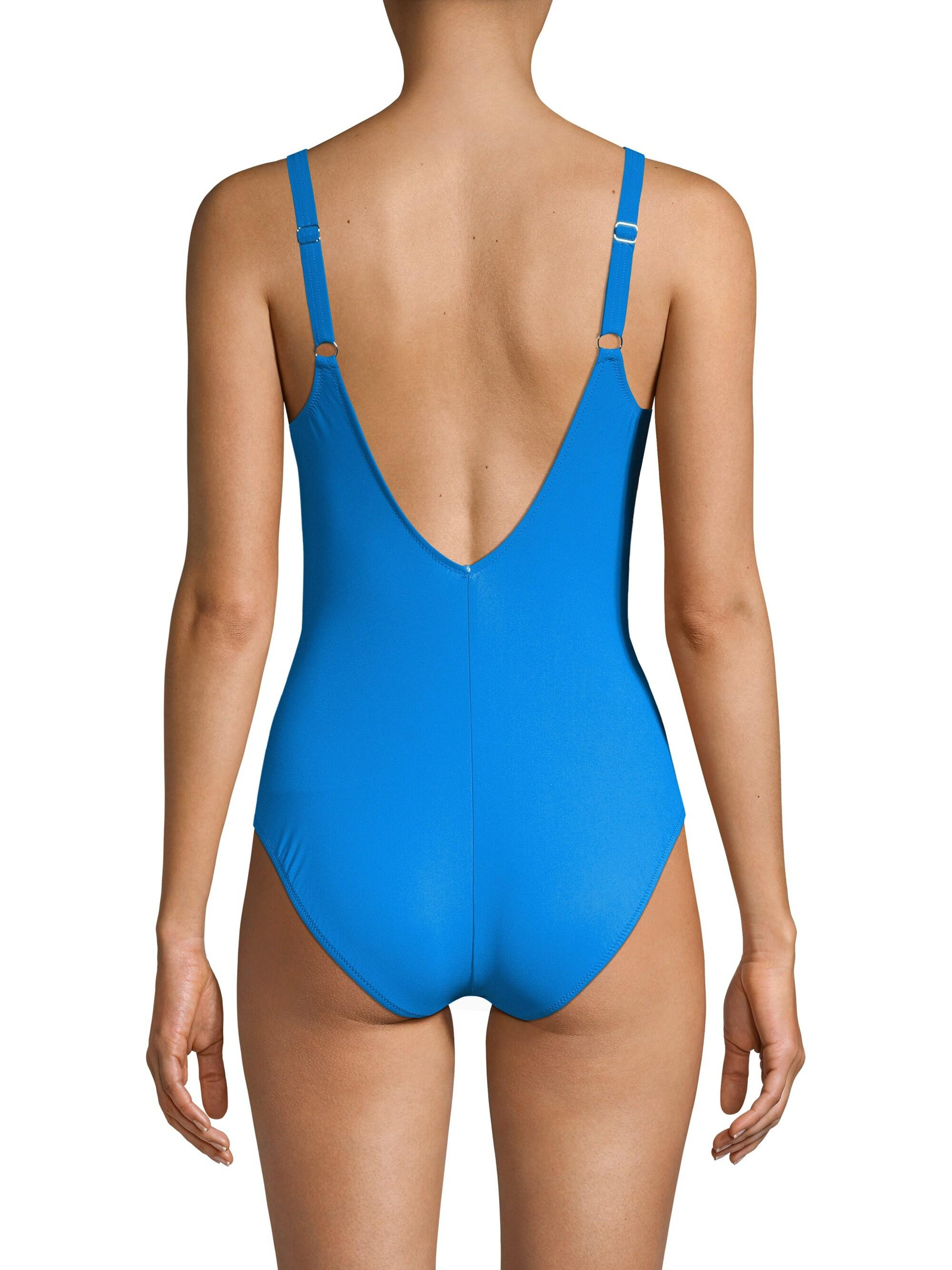 Gottex Ruched V-neck One-piece in Blue - Lyst