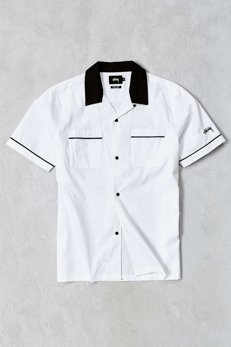 Stussy Shortsleeve Bowling Shirt in White for Men  Lyst