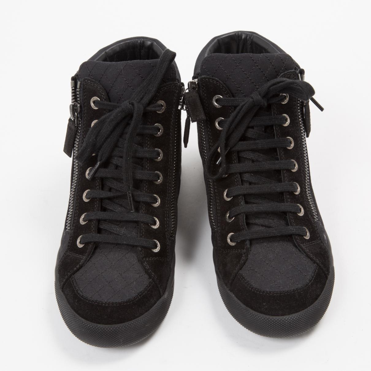 Chanel Pre-owned Cloth Trainers in Black - Lyst