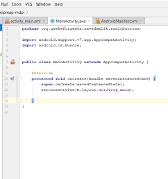 step1 firstly create a new android application this will create an xml file activity main xml and a java file mainactivity java  [ 1510 x 675 Pixel ]