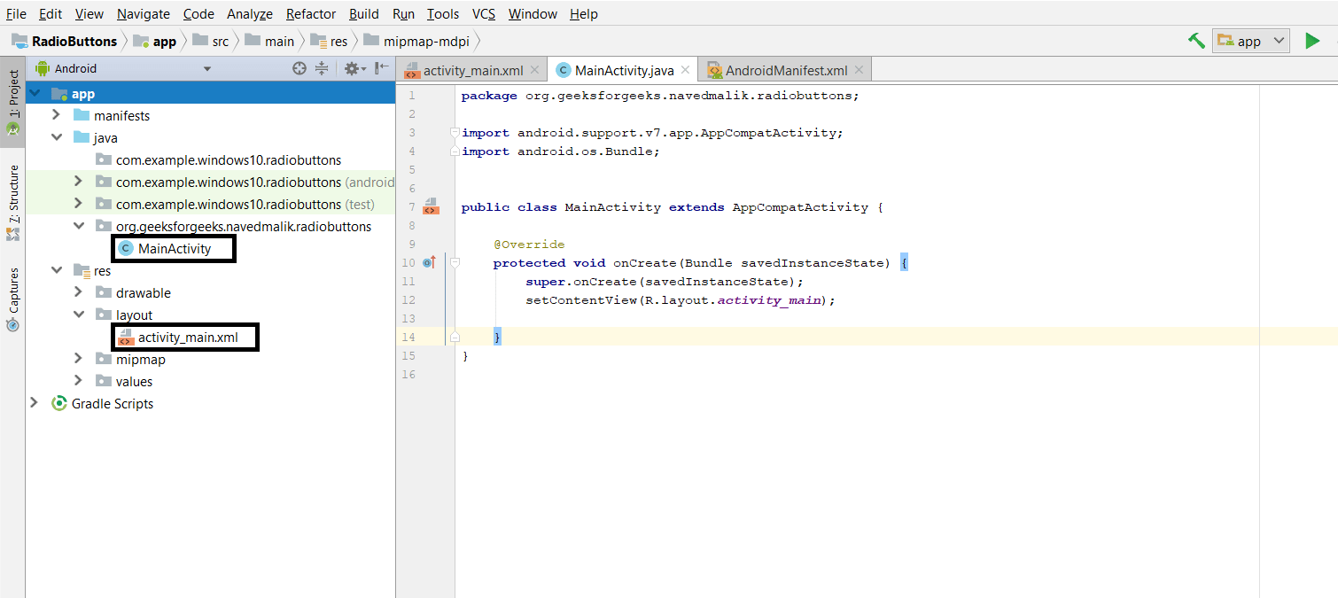 hight resolution of step1 firstly create a new android application this will create an xml file activity main xml and a java file mainactivity java