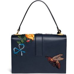 b9c9d41fc6 Lyst Gucci 'cat Lock' Flower Embroidery Leather Top Handle Bag In Blue