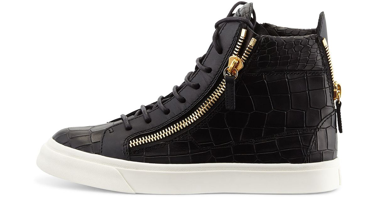 Giuseppe zanotti Nicki CrocEmbossed HighTop Sneakers in Black for Men NERO  Lyst